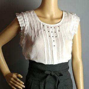 Nwt Benetton sheer tunic blouse studded large